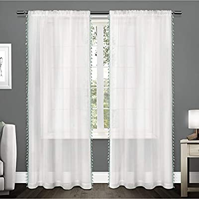 "Exclusive Home Tassels Embellished Sheer Rod Pocket Curtain Panel Pair, Seafoam, 54x96 - Tassels offers a fun, stylish, and trendy tassel applique border on a textured sheer fabric Includes:  Two (2) curtain panels, each measuring:   54""W x 96""L Slides onto curtain rod via sewn in rod pocket; each panel sewn with 4"" top hem, and 3"" bottom hem - living-room-soft-furnishings, living-room, draperies-curtains-shades - 41oZoto0HbL. SS400  -"