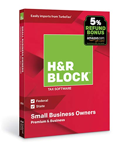 Software : H&R Block Tax Software Premium & Business 2018 with 5% Refund Bonus Offer