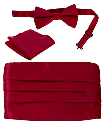 Gioberti Men's Adjustable Satin Cummerbund Set With Formal Bow Tie and Pocket Square, Burgundy