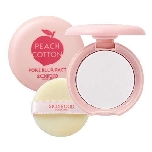 [SKIN FOOD] Peach Cotton Bur Pact 4g - Sebum Control Pack with Silky Texture, Long Lasting Makeup Fixing, Pore Primer for Oily Skin