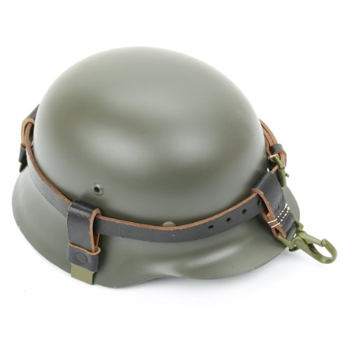 German WWII Helmet Black Leather Carry Strap with Metal Fittings (Helmet not included) Collection Black Strap