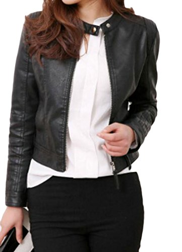 Shift Leather Jacket (BYWX Women Biker Stand Collar Slimming Shift Moto PU-Leather Jackets Black US L)