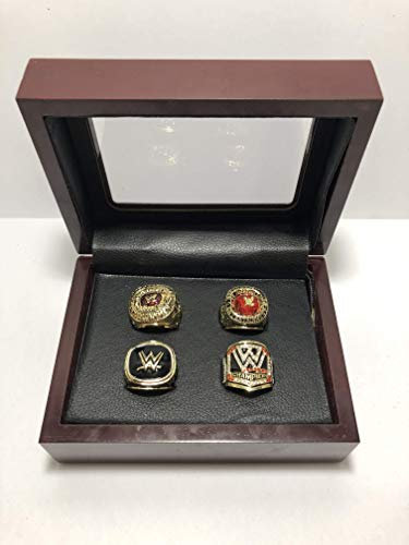 Set of 4 World Wrestling Entertainment WWE Hall of Fame 2004, 2008, 2015 Championship Replica Ring W/Box-Various Sizes Gold Color Collectible USA SHIPPER