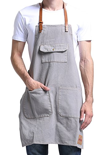 Strap Smock (Vantoo Canvas Bib Apron with 3 Pockets- Artist Painting Home Shop Kitchen Cooking Commercial Restaurant Apron-Removal Leather Neck Strap and Waist Strap-For Women and Men-Perfect for Gifts,Grey)
