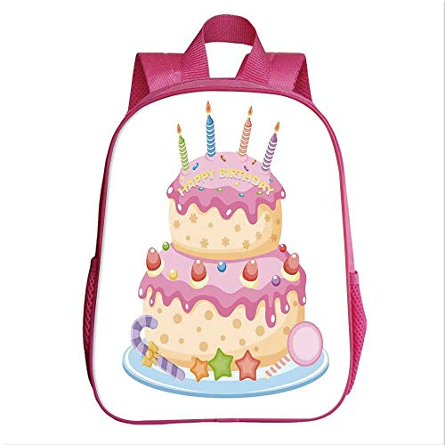 Birthday Decorations for Kids School Bag Backpack,Pastel Colored Birthday Party Cake with Candles and Candies for Kindergarten Baby,9.4''Lx4.7''Wx11.8''H