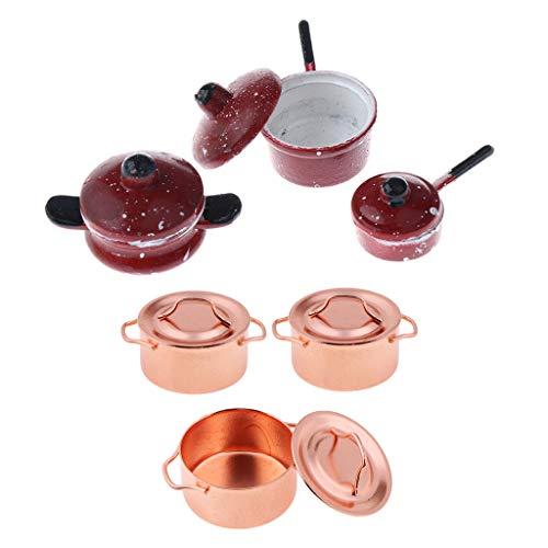 B Blesiya 6 Pieces Dollhouse Miniature Tableware Metal Plate Dishes Kitchen Set for Mini Food Model