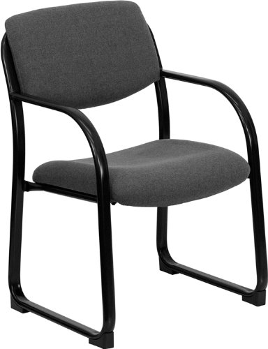 Contemporary Design Heavy Duty Gray Fabric Reception Office Guest Side Chair by Belnick