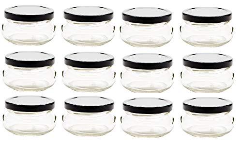 (Nakpunar 12 pcs 3.3 oz Glass Tureen Jars with Black Lids -100ml)