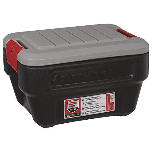- Rubbermaid ActionPacker Lockable Storage Box, 8 Gallon, Grey and Black (1949040)