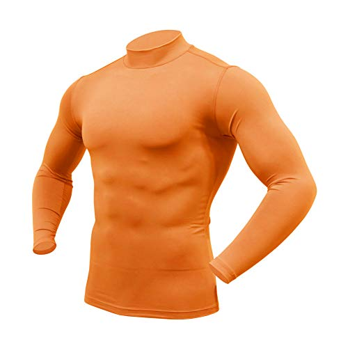 ARMEDES Mens Mock Long-Sleeved T-Shirt Cool Dry Compression Baselayer AR-151/53 (53 Orange, Small)