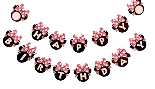 Kids Birthday Party Decoration For Girls,Minnie Mouse Inspired Happy Birthday Banner Pink by Alemon