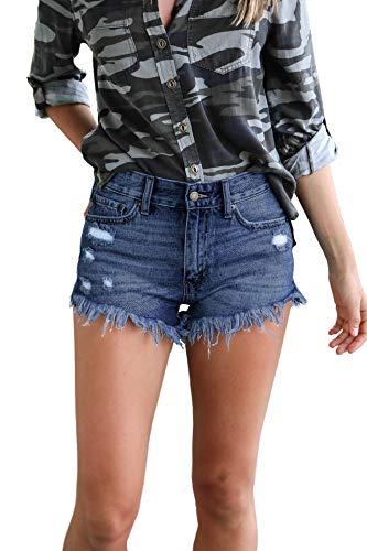 GUNLIRE Women's Dark Blue Jeans Shorts Juniors Summer Mid Rise Ripped Distressed Tassels Fashion Denim Shorts ()