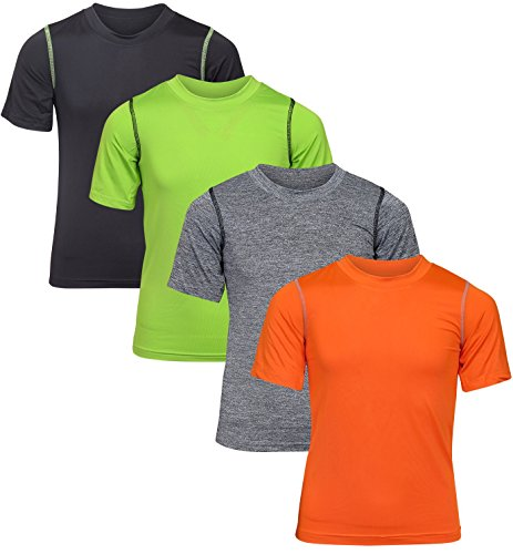 Black Bear Boy\'s Performance Dry-Fit T-Shirts (4 Pack) Black/Green/Grey/Orange, Large/12-14'