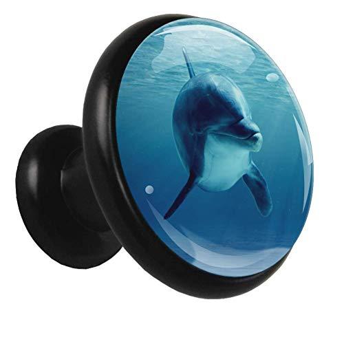 Blue Underwater Dolphin Cabinet knobs Black Round Alloy Handles 3D Visual Effect Drawer Cupboard Wardrobe Pull for Women Dresser Men Kids(4pcs) 1.26x1.18x0.66in