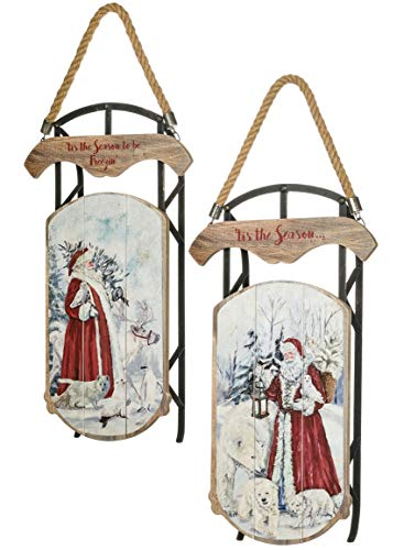 Sullivans Hanging Christmas Wall Art Décor, Classical Santa Painted on Vintage Wooden Sled, 11.5
