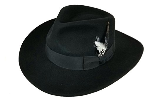 Cowboy Style Black Hat (Different Touch Men's 100% Soft & Crushable Wool Felt Indiana Jones Style Cowboy Fedora Hats HE01 (S/M, Black))