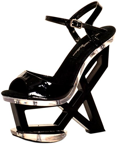 "The Highest Heel Women's ASTONISH-11 Qtr Strap with 7"" Geometric Black Patent PU Platform Wedge 6 B(M) US from The Highest Heel Enterprises LLC"