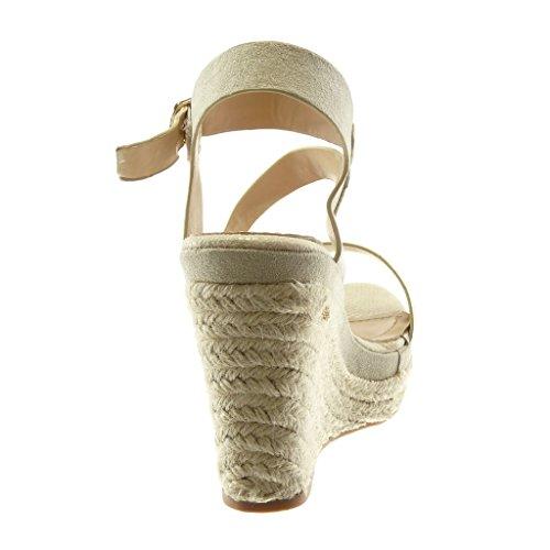 Cinturino 11 Espadrillas Donna cm Corda Tacco Serpente Pelle Alla Piattaforma Tanga beige Zeppe Angkorly con Moda Caviglia Scarpe Zeppa di Sandali zYUBBx