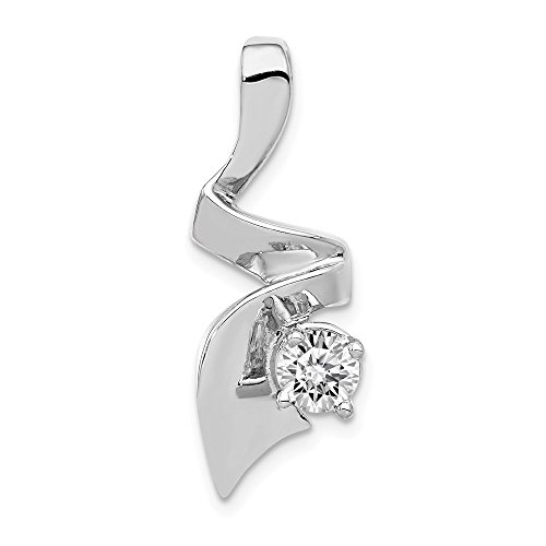 Real 14kt White Gold Holds 5mm Stone; Chain Slide Mounting