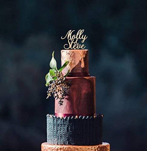 your wood choice Personalized wedding cake topper names cake topper leaf border topper wooden cake topper rustic wedding cake topper