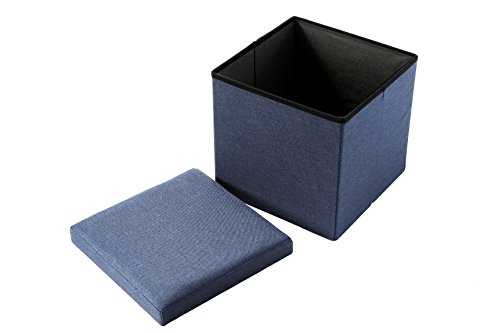 Linen folding wooden storage cube ottoman foot rest