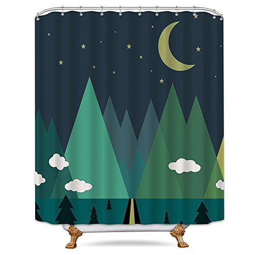 (Cdcurtain Triangle Tree Shower Curtain Forest Cute Cloud Moon Mountain Star Kids Decor Fabric Bathroom Set Polyester Waterproof 72x72 Inch with Free Plastic Hooks 12-Pack)