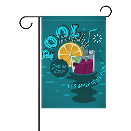 - YZGO Summer Cocktail Pool Party Garden Flag Home Polyester Fabric Mildew Resistant Welcome House Yard Banner,12x18 Inch
