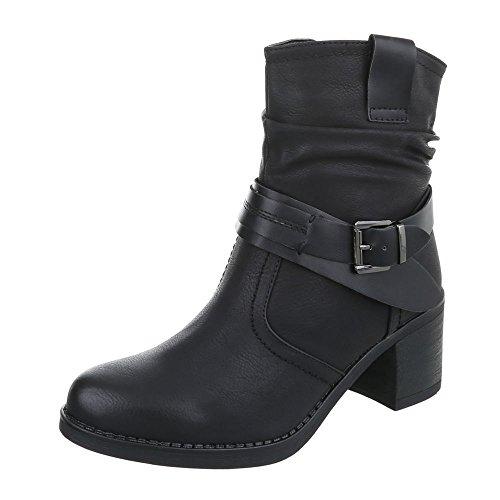 Negro Tacón camperos Botas Ital Design para ancho Botines Zapatos mujer qUPwz1nwH