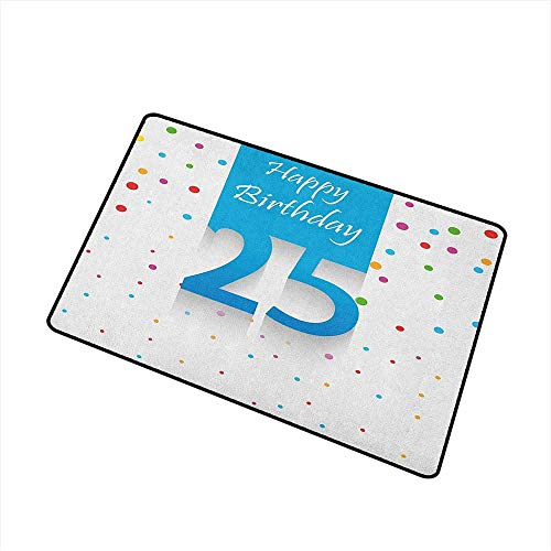 Wang Hai Chuan 25th Birthday Commercial Grade Entrance mat Big and Small Polka Dots Confetti Rain and Blue Square Hand Written Print for entrances garages patios W31.5 x L47.2 Inch Multicolor