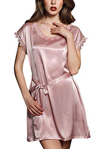 4PING Women's Silk Satin Short Sleeve Pajama Nightgown Dress Pink by 4PING
