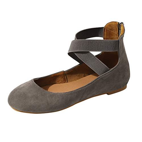 (Mary Jane Shoes Women,SMALLE◕‿◕ Women's Ankle Straps D'Orsay Pointed Toe Ballet Flats Ankle Strap Shoes Gray)