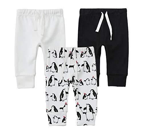 Owlivia Organic Cotton Baby Boy Girl 3-Pack Wiggle Pants Jogging Pants (Off-White+Penguin+Black, - Penguin Organic