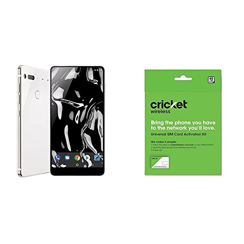 Essential Phone 128 Gb Unlocked With Full Display  Dual Camera   Pure White And Cricket Wireless Byod Prepaid Sim Card