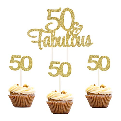 Topoox 37 Pcs Gold Glitter 50th Number 50 Cupcake Topper Picks 50 & Fabulous Cake Topper for Birthday Anniversary Party Decorations (Birthday Fiftieth)