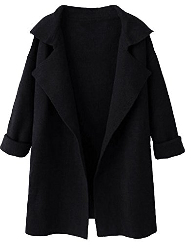 SheIn Women's Long Sleeve Cardigan Lapel Open Front Sweater One-Size Black