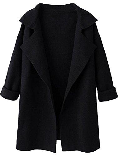 Open Coat Cloth (SheIn Women's Long Sleeve Cardigan Lapel Open Front Sweater One-Size Black)