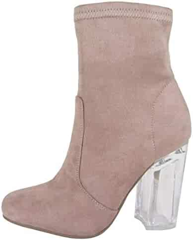 1c9751a31972 Speed Limit 98 Women s Closed Toe Faux Suede Chunky Clear Perspex Heel  Ankle Bootie