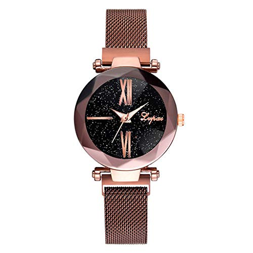 Lyperkin Analog Quartz Wrist Watch, Business Casual Analog Wrist Watch with Stainless Steel Band Delicate Starry Sky Dial Quartz Watch for Women Q-07