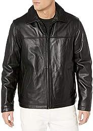 Tommy Hilfiger Men's Smooth Lamb Leather Laydown Collar Open Bottom Ja