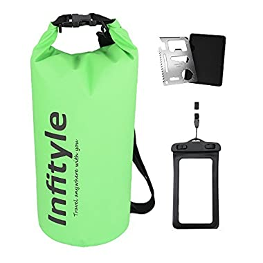 Waterproof Dry Bags - Floating Compression Stuff Sacks Gear Backpacks for Kayaking Camping - Bundled with Phone Case and Pocket Tool (Green, 5L)
