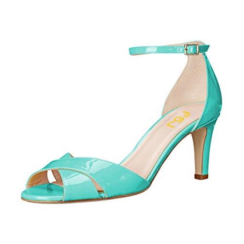 Fsj Vrouwen Comfortabele Peep Toe Sandalen Dikke Laag Hielenpompen Kruis Riem Tweedelige Schoenen Maat 4-15 Ons Turquoise