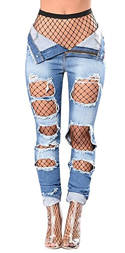 101d59e6ddc PiePieBuy Womens Distressed Strench Trousers. Review - PiePieBuy Women's  High Waist Frame Denim ...