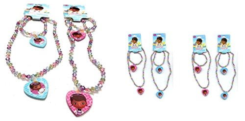 Doc McStuffins Bead Necklace and Bracelet Set with Heart Charm X 4 Set (2 Blue and 2 Pink) ()