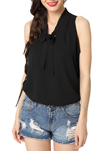 Abollria Womens Summer Chiffon Sleeveless Tops Casual Blouse Shirt with V Neck Bow