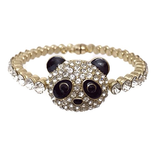 Clovers Cheer Costume (Panda Bear Rhinestone Magnetic Bangle Silver Tone Formal Prom Bracelet)