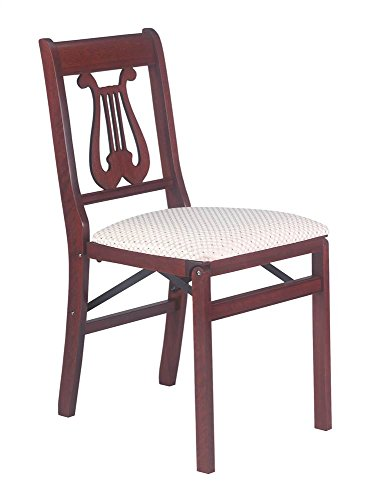 (Music Back Folding Chair in Warm Cherry Finish - Set of 2)