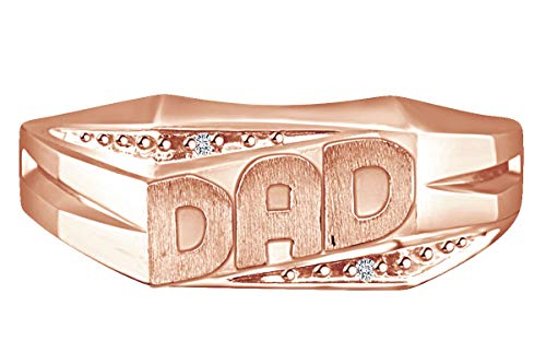 0.01 Carat Round Shape White Natural Diamond Accent Men's DAD Ring 10k Solid Rose Gold Ring - Ring Accent Dad Diamond