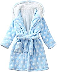 HSMQ Unisex Baby Plush Bathrobe Long Sleeve Soft Flannel Hoodies Shower Pajamas Set for Toddler Girls Boys
