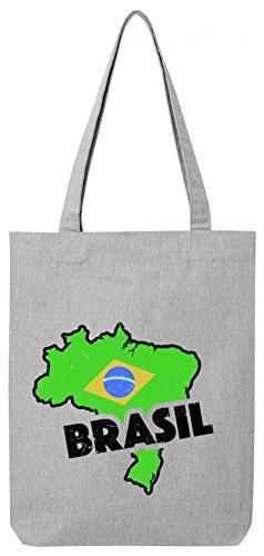 ShirtStreet Brasil Fußball WM Fanfest Gruppen Premium Bio Baumwoll Tote Bag Jutebeutel Stanley Stella Land Brasilien Heather Grey
