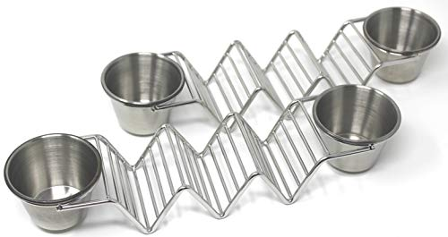 Premium Taco Holder Stand Rack 2 Pack Bundle with 4 Sauce Cups, Stainless Steel Stackable Taco Stand for Soft and Hard Shell Taco, Oven, Grill, Dishwasher Safe